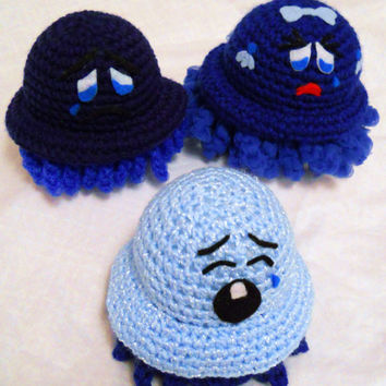 Oh so Blue Family Pack of Scrubbles - One Pot Scrubbie - One Exfoliating Poof - One Super Soft Baby Scrubbie