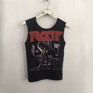 Ratt shirt 80s vintage t shirt band t-shirts rock tshirt 1985 tour sleeveless tank concert tee heavy metal clothing tshirts black xs small