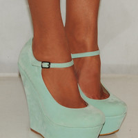 LADIES WOMEN SUEDE MINT GREEN BLUE PLATFORM WEDGES HIGH HEELS SHOES 3-8