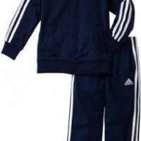 adidas Toddler Boys' Iconic Tricot Jacket and Pant Set, Navy/White, 3T