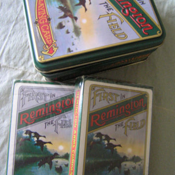 1980'S Remington Outdoorsmen Playing Cards and Decorative Metal Container Never Used New Ducks Hunting