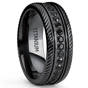 Black Titanium Men's Eternity Wedding Band Ring With Black Cubic Zirconia CZ
