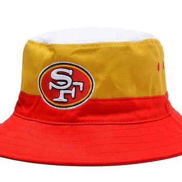 LMFON San Francisco 49ers Full Leather Bucket Hats Orange-Yellow