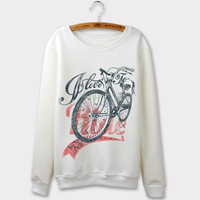 New Arrival Autumn Winter 2016 Fashion Sweatshirts Women Hoodies Vintage Bicycle Print Sweatshirt Moleton Feminino Hooded O-neck