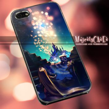 MC611Y,15,Cartoon,Tangled,Rapunzel,night,Light - Accessories case cellphone - Design for iPhone 6 - Black case - Material Soft Rubber