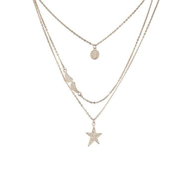 Multi-Layer Chain Necklace Gem Round Delicate Layer Arrow Pendant Charm Necklace