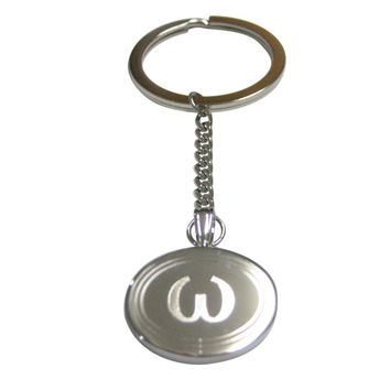 Silver Toned Etched Oval Greek Lowercase Letter Omega Pendant Keychain