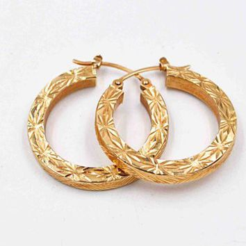 Vintage 14K Yellow Gold Hoop Pierced Earrings, Diamond Cut, Starburst, Crosshatch, 1 inch Hoops, Latch Back, 2.2 Grams, Fine! #c491