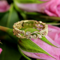 Diamond Wedding  Band with Millegrain Design (white gold, rose gold ,yellow gold, platinum and other gems available)