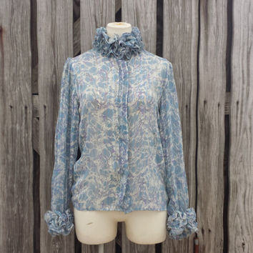 Vintage High Neck Ruffle Blouse - Victorian Style - Semi Sheer - Blue Purple - Size S