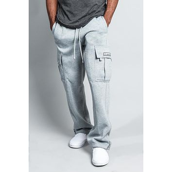 Men's Solid Fleece Heavyweight Cargo Sweat Pants FL77