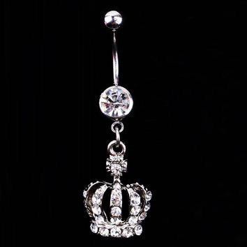 Crystal Rhinestone Crown Piercing Belly Button Navel Ring