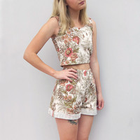 Handmade Poppy Foliage Floral Shorts Two Piece Set by Laura Ralph