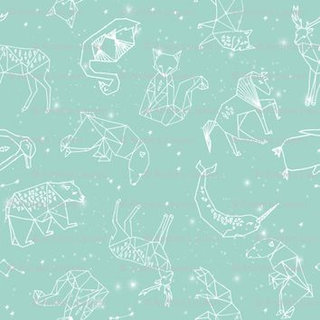 constellations // nursery baby kids mint constellations stars kids animals fox dream night time fabric - andrea_lauren - Spoonflower