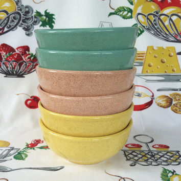 1950s McCoy Pottery Bowls Mid Century Mod Speckled Aqua Pink Yellow Vintage Kitchen Set of 6