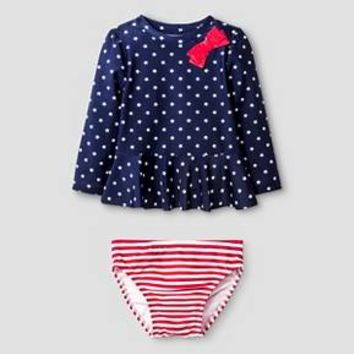 Baby Girls' 2-Piece Stars & Stripes Rash Guard Set Baby Cat & Jack™ - Blue & Red