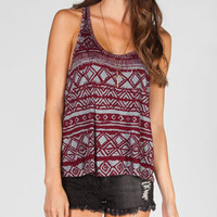 FULL TILT Ethnic Print Womens Knot Back Tank
