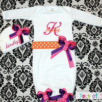 PERSONALIZED Going Home Outfit  Infant, Newborn layette gown and hat CUSTOM  Great for a Baby Shower Gift