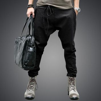 men Harem Pants brand  Casual  pants men Trousers Drop Crotch Pant Men Joggers