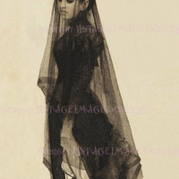 Lovely Antique Victorian Mourning Portrait Of A Woman In Mourning Attire 5x7 Greeting Card