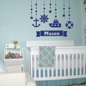ik2323 Wall Decal Sticker Marine name boy steering ship anchored over bed children's room