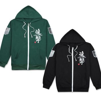 Anime Attack on Titan Scouting Legion Hoodie Cosplay Costume Long Sleeve Black/Green Hooded Jacket Daily Casual Sweatshirts