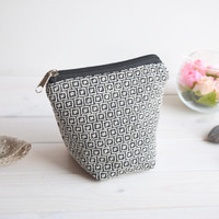Black white charger bag with zipper, Charger case, Cosmetic pouch, Make Up Pouch, Toiletery bag, Project bag, Travel bag, Coin Purse