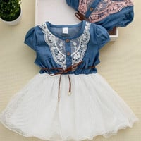 Lace Belt Cowbow Tutu Mesh Dress Girls