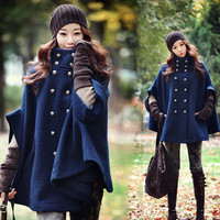 Blue double-breasted cape coat LK1211EC