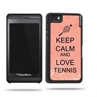 Keep Calm And Love Tennis Coral Floral Blackberry Z10 Case - For Blackberry Z10