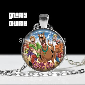 Steampunk handmade movie Scooby Doo Minion Necklace 1pcs/lot bronze or silver Glass Pendant jewelry dog necklace gift chain men