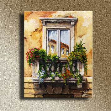 Balcony of Roma Original Acrylic Painting Mediterranean Landscape Print on Canvas Wall Hanging Decorative Art