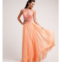Peach Lace & Chiffon Cut Out Gown Prom 2015