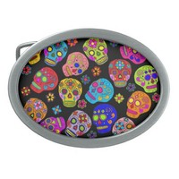 Customizable Sugar Skulls Belt Buckle