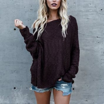 Solid Color Knitted Long-Sleeved Sweater