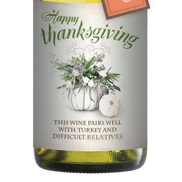 Thanksgiving Wine Sleeve and Tag - Festive Funny Wrapping Ideas For Bottles of Vino - Holiday Label