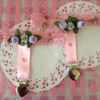 Pastel goth floral spiked garter pair by CreepItCute on Etsy