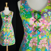 Vintage Psychedelic Garden Corset Laced Sundress Mod 60s Dress