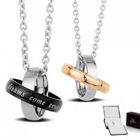 """Stainless Steel 2-tone """"Dreams Come True"""" Couples Pendant Necklaces Set 18'' 20'' Chains Gift Boxed"""