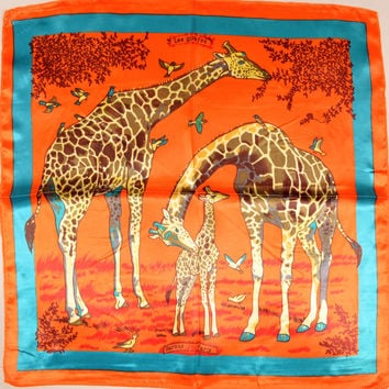 Hot Sale Ladies Orange Giraffe Silk Scarf Autumn Winter Fashion Accessories Women Professional Small Square Silk Scarf Printed
