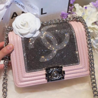 CHANEL 2018 summer new diamond small incense wind oblique bag chain bag F0436-1 pink