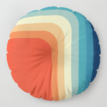 Retro 70s Color Palette III Floor Pillow by alisagal