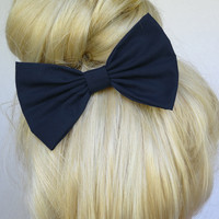 Hair Bow Clip - Navy Blue