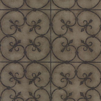 Avalon Ironwork Wallpaper in Brass by Brewster Home Fashions