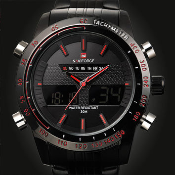 2015 Sports Watches Men Luxury Brand Male Watch Analog LED Digital Watches for Men Full Steel Men's Quartz Military Wristwatches