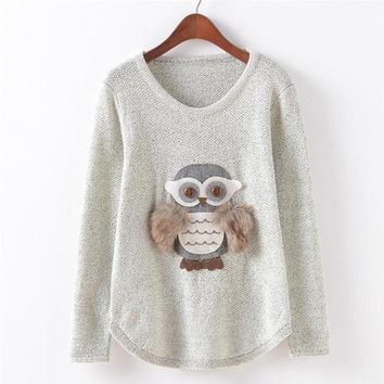Owl Winter Sweater Women Kawaii Long Sleeve Pullovers Casual Knitted Sweater Poncho Women#A11