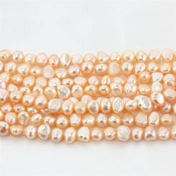 SNH 5strands /pack 8-9MM AA grade baroque peach color natural  irregular freshwater pearl loose beads 15 ""