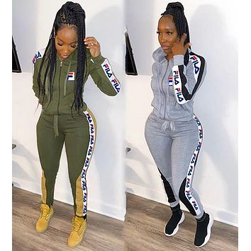 Fila New fashion more letter string mark print hooded long sleeve coat and pants two piece suit