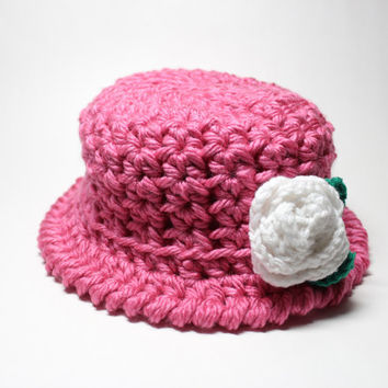 Pink Crochet Hat With Flower, Women's Cloche, 1920's Style Flapper Hat, Chunky Knit Beanie, Winter Accessory