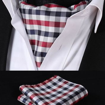 Navy Blue Red Check Silk  Ascot Tie Pocket Square Set